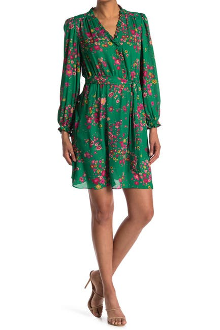Image of London Times Georgette Floral Print Fit and Flare Dress