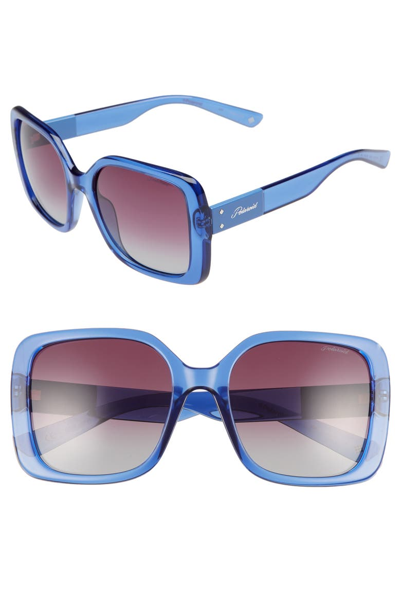 POLAROID EYEWEAR Polaroid 55mm Polarized Gradient Square Sunglasses, Main, color, 400