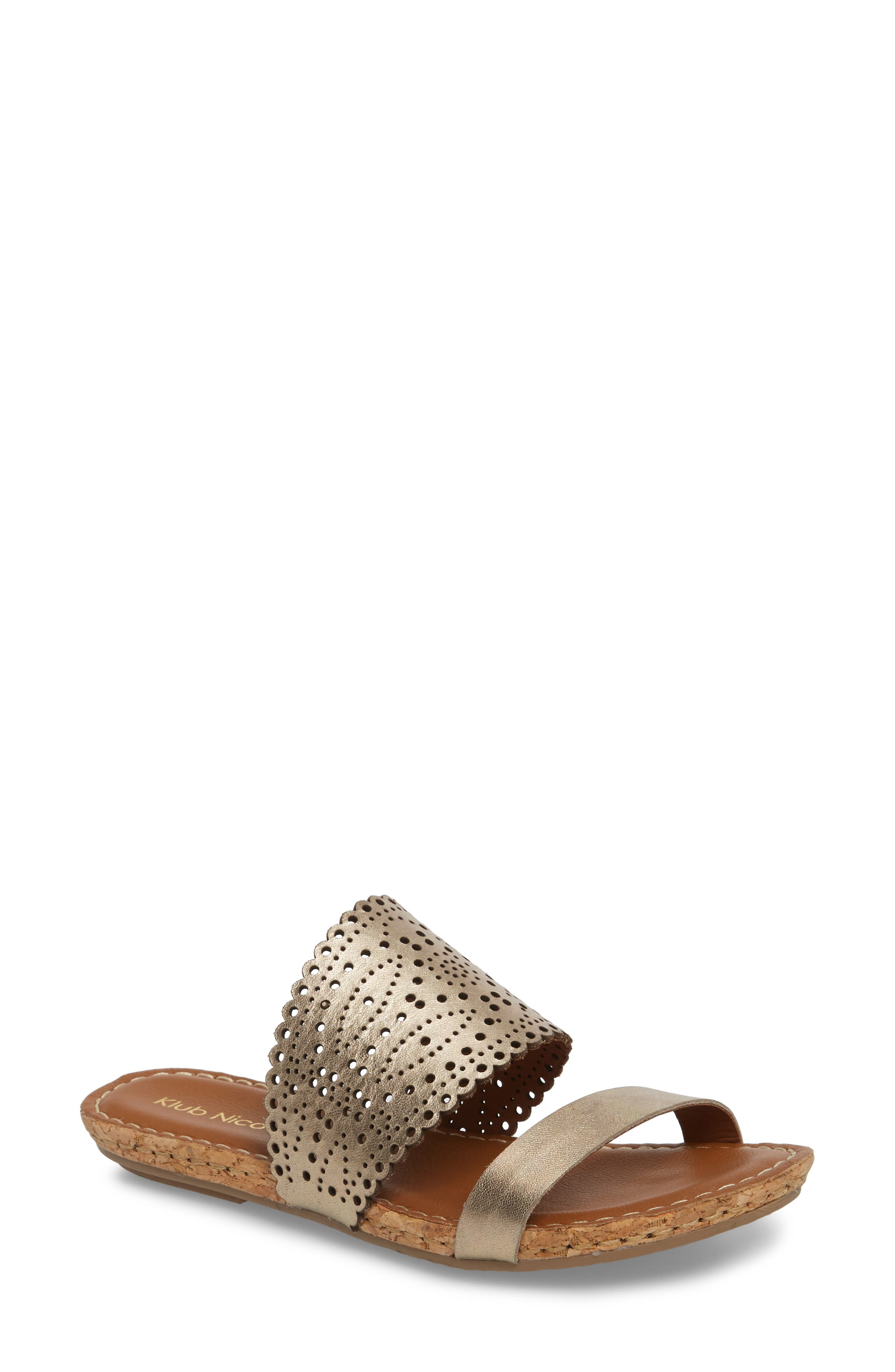 ,                             Ginette Perforated Slide Sandal,                             Main thumbnail 1, color,                             PEWTER LEATHER