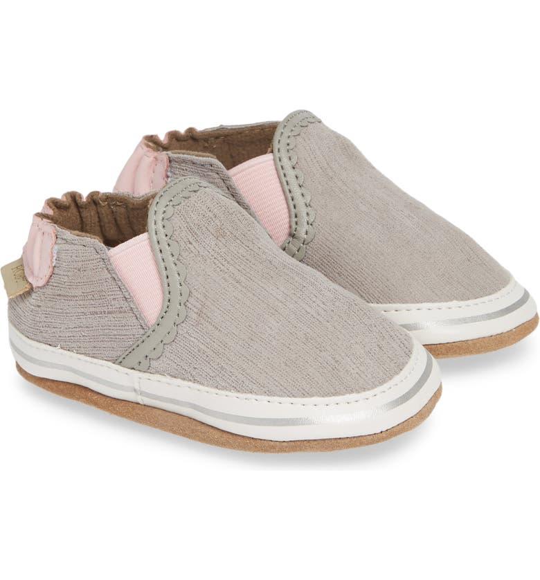 ROBEEZ<SUP>®</SUP> Pop of Pink Liam Crib Shoe, Main, color, GREY