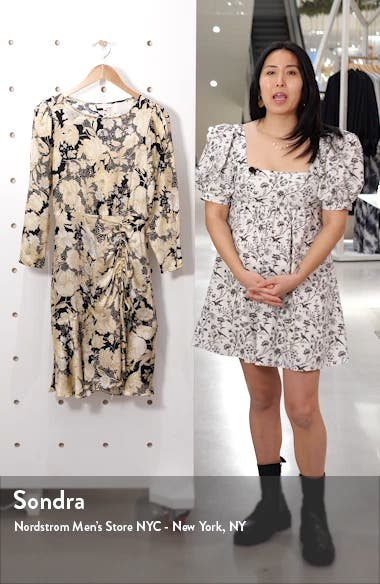 Gold Leaf Floral Long Sleeve Silk Dress, sales video thumbnail