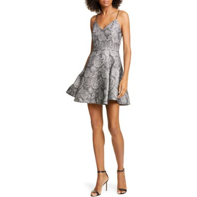 Alice + Olivia Anette Metallic Paisley Fit & Flare Dress, Metallic