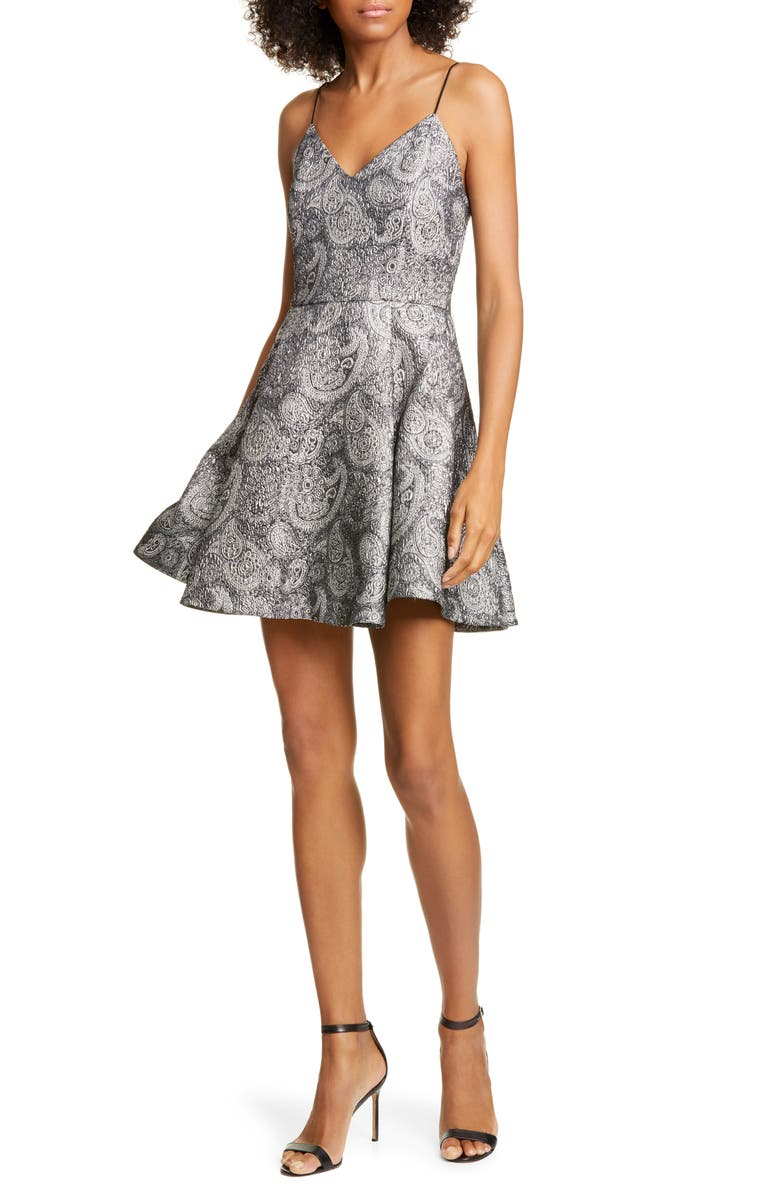 ALICE + OLIVIA Anette Metallic Paisley Fit & Flare Dress, Main, color, SILVER