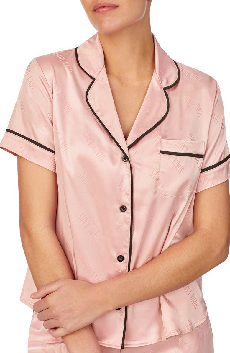SHADY LADY Short Sleeve Pajama Top, Main, color, PINK JACQUARD