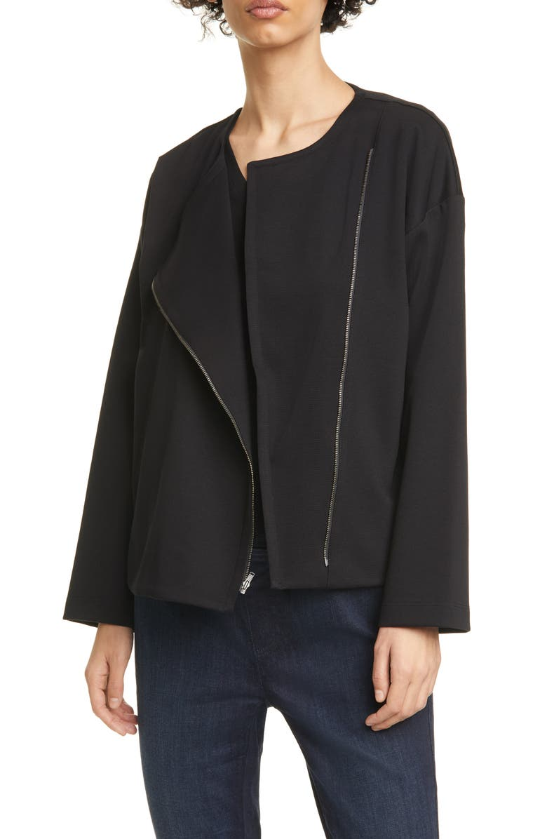 EILEEN FISHER Asymmetrical Zip Jacket, Main, color, 001