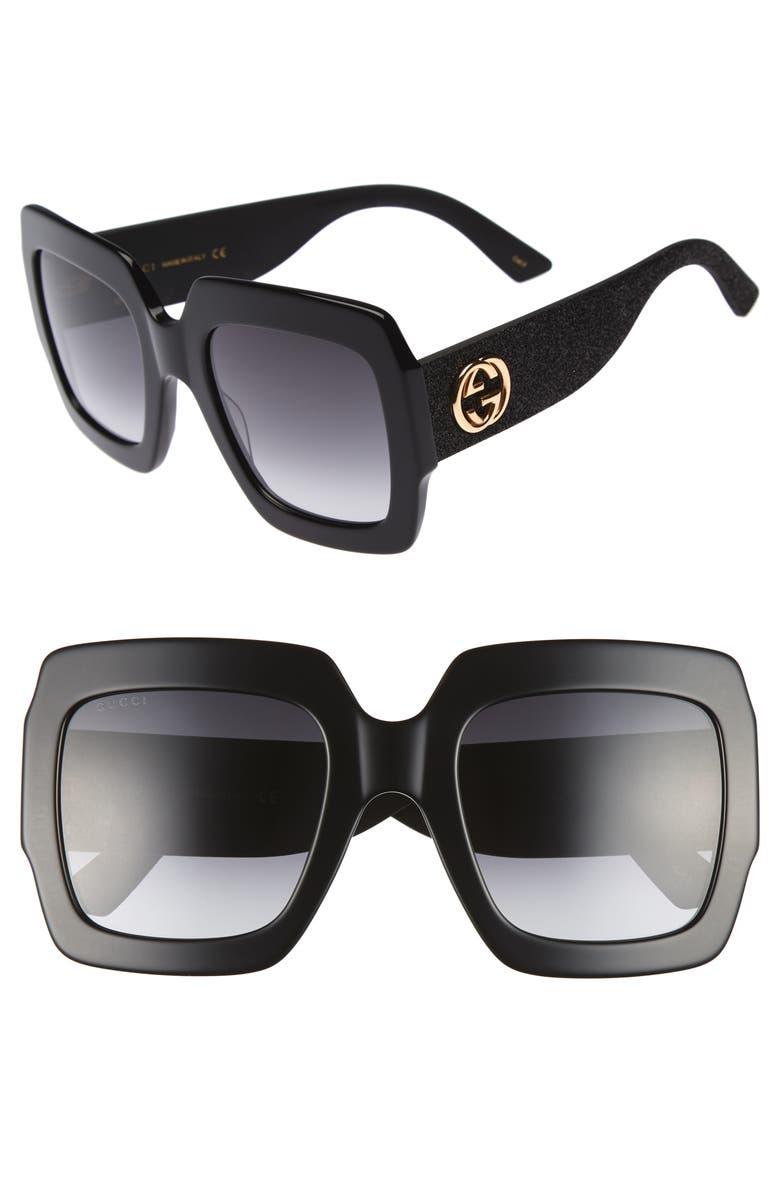 GUCCI 54mm Square Sunglasses, Main, color, 001