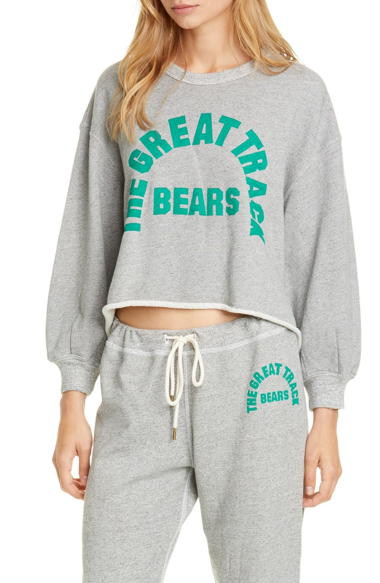 THE GREAT. The Cut Off Sweatshirt with Bears Graphic, Main, color, VARSITY GREY W/ BOTTLE GREEN