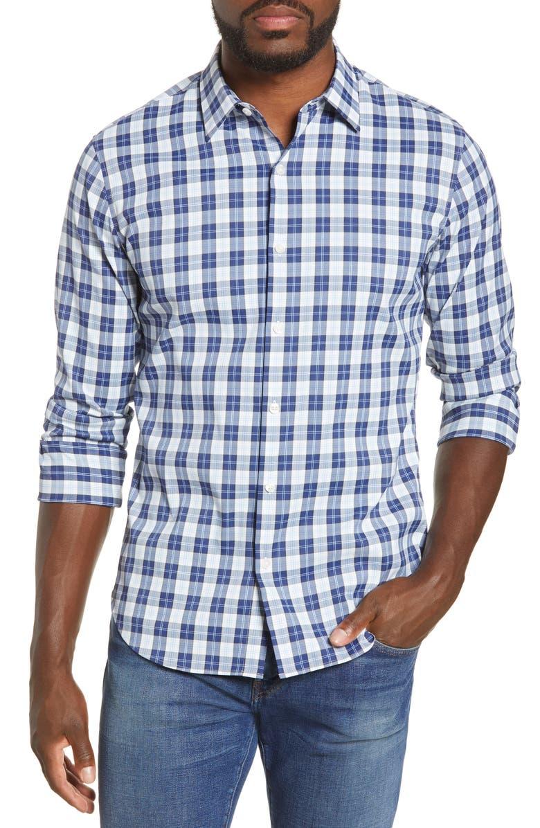 BONOBOS Slim Fit Plaid Button-Up Tech Shirt, Main, color, LODI BLUE DEPTHS