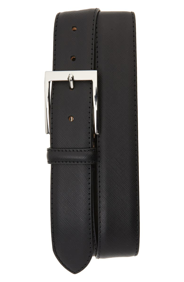 TO BOOT NEW YORK Saffiano Leather Belt, Main, color, SAFFIANO BLACK
