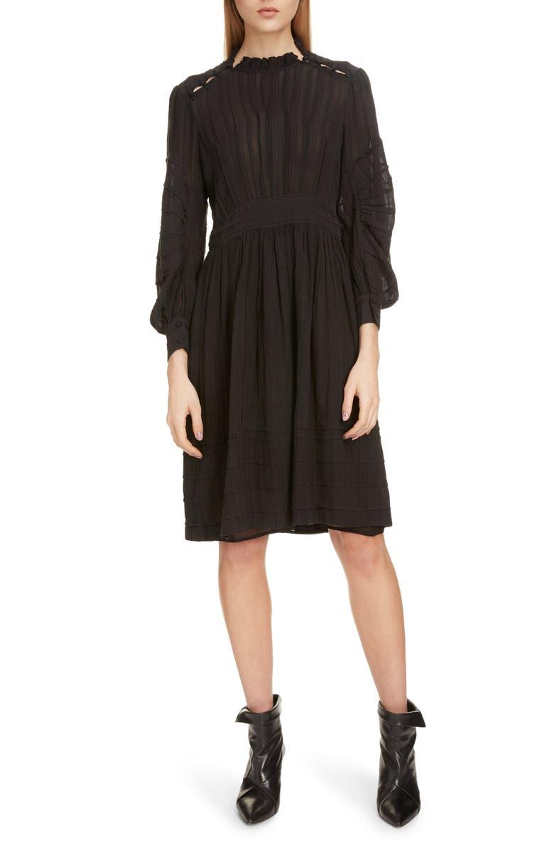 ISABEL MARANT ÉTOILE Odea Pintuck Dress, Main, color, BLACK