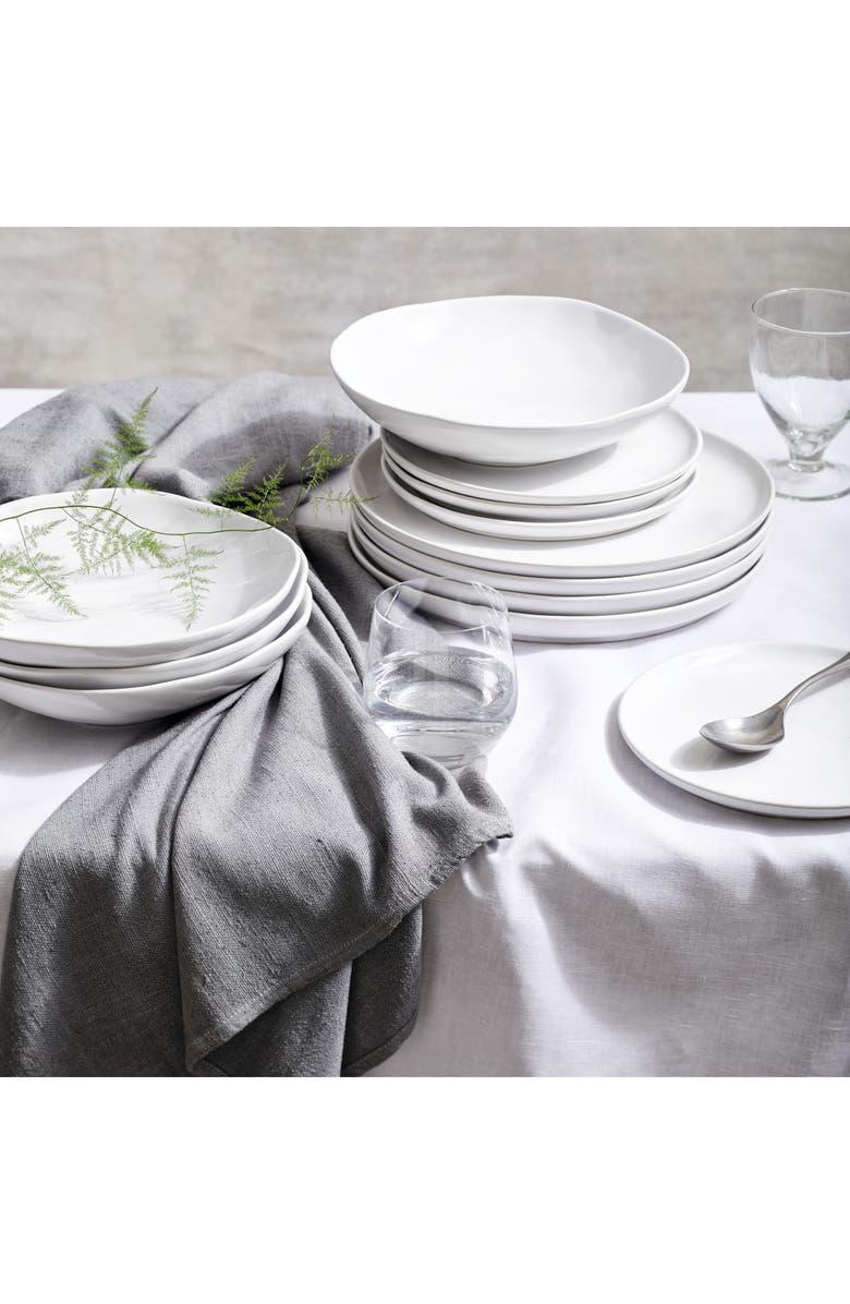 THE WHITE COMPANY Portobello 12-Piece Stoneware Dinnerware Set, Main, color, WHITE