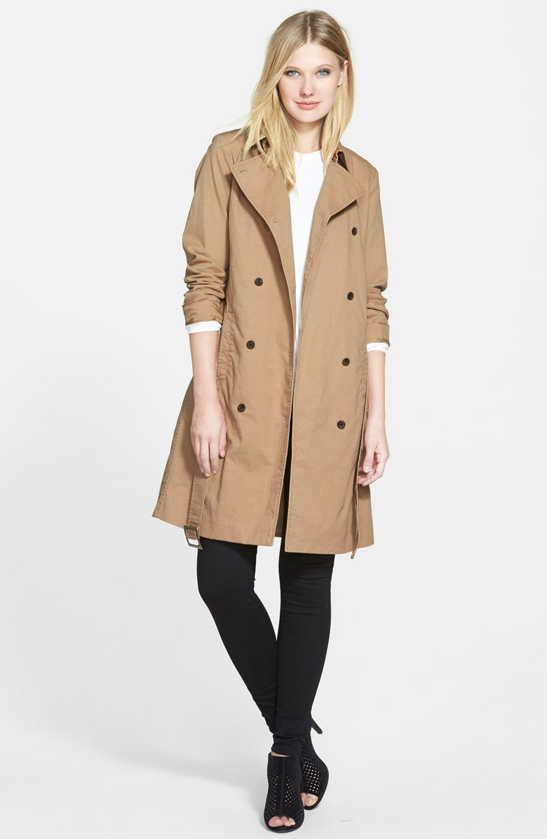 EILEEN FISHER The Fisher Project Long Classic Collar Double Breasted Coat, Main, color, 216