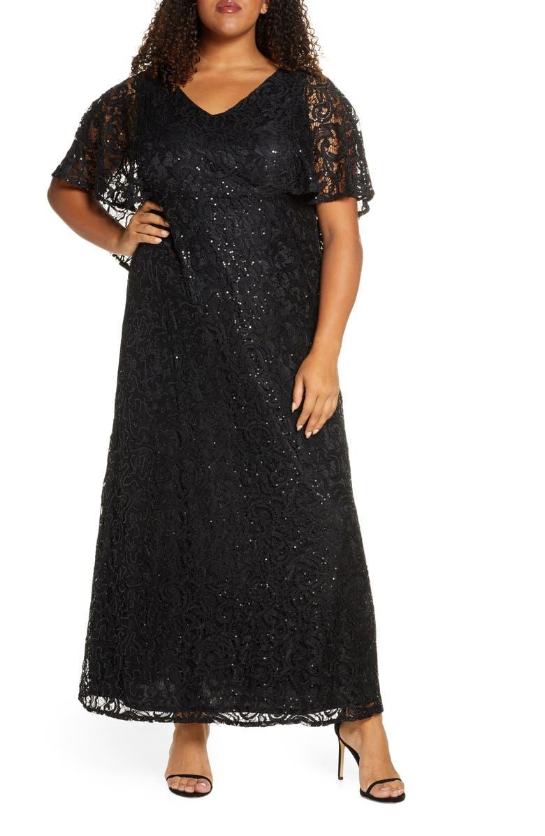 KIYONNA Celestial Cape Sleeve Lace Gown, Main, color, ONYX