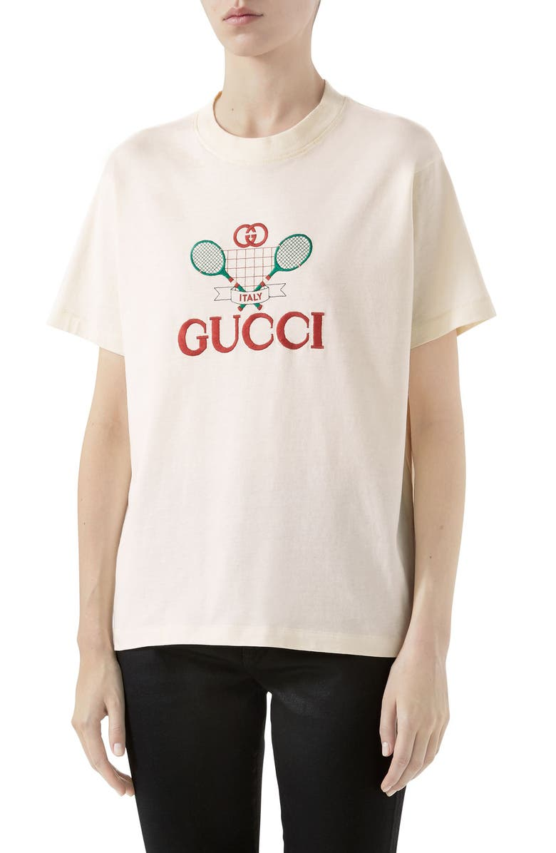GUCCI Tennis Embroidered Cotton Tee, Main, color, SUNKISSED/ MULTICOLOR
