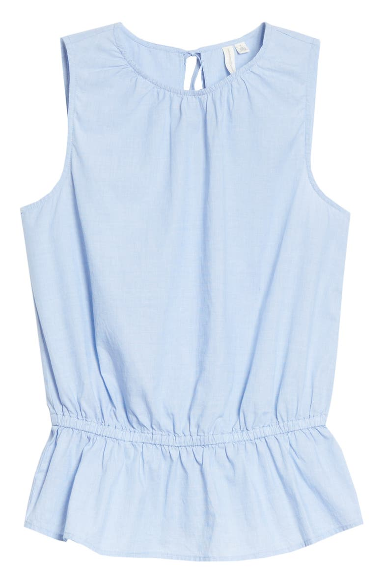 TREASURE & BOND Sleeveless Peplum Top, Main, color, BLUE EVENTIDE