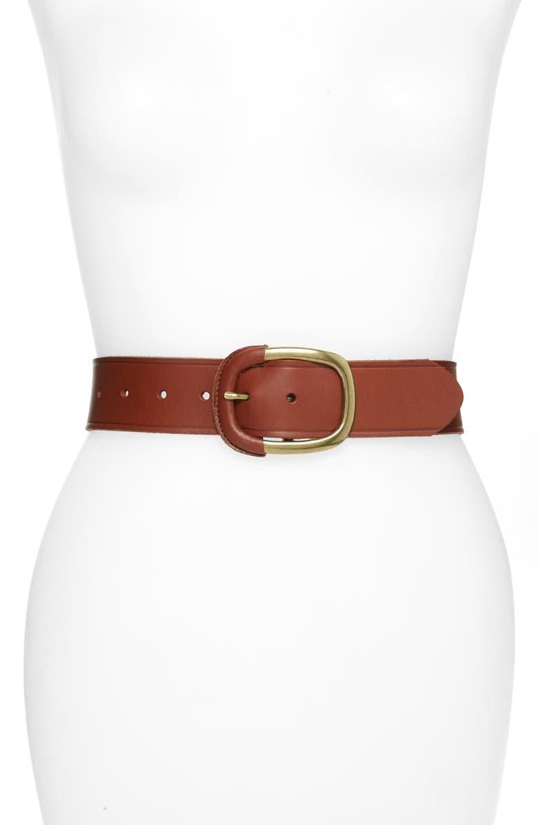 HALOGEN<SUP>®</SUP> Wrapped Buckle Leather Belt, Main, color, COGNAC