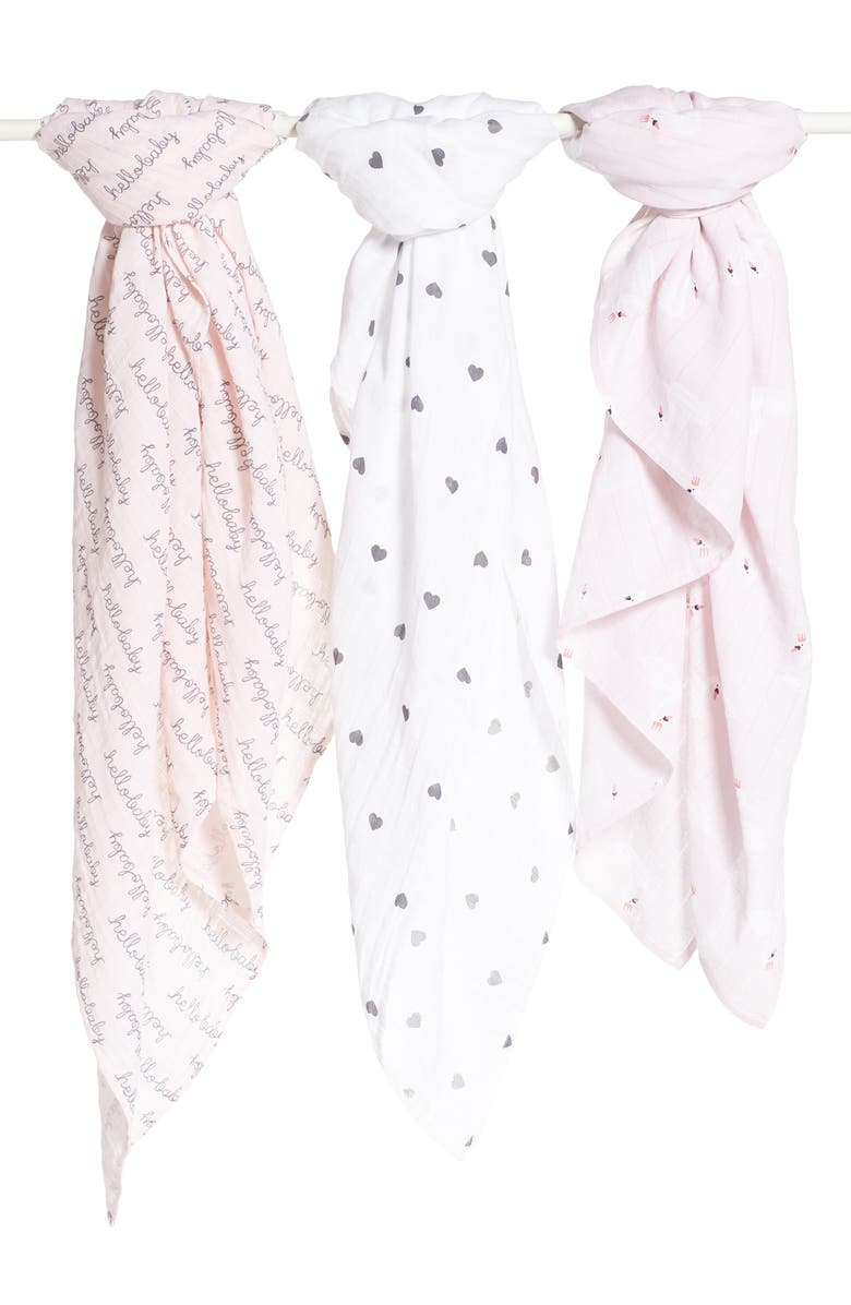 NORDSTROM BABY 3-Pack Muslin Swaddles, Main, color, PINK BABY SWAN PACK