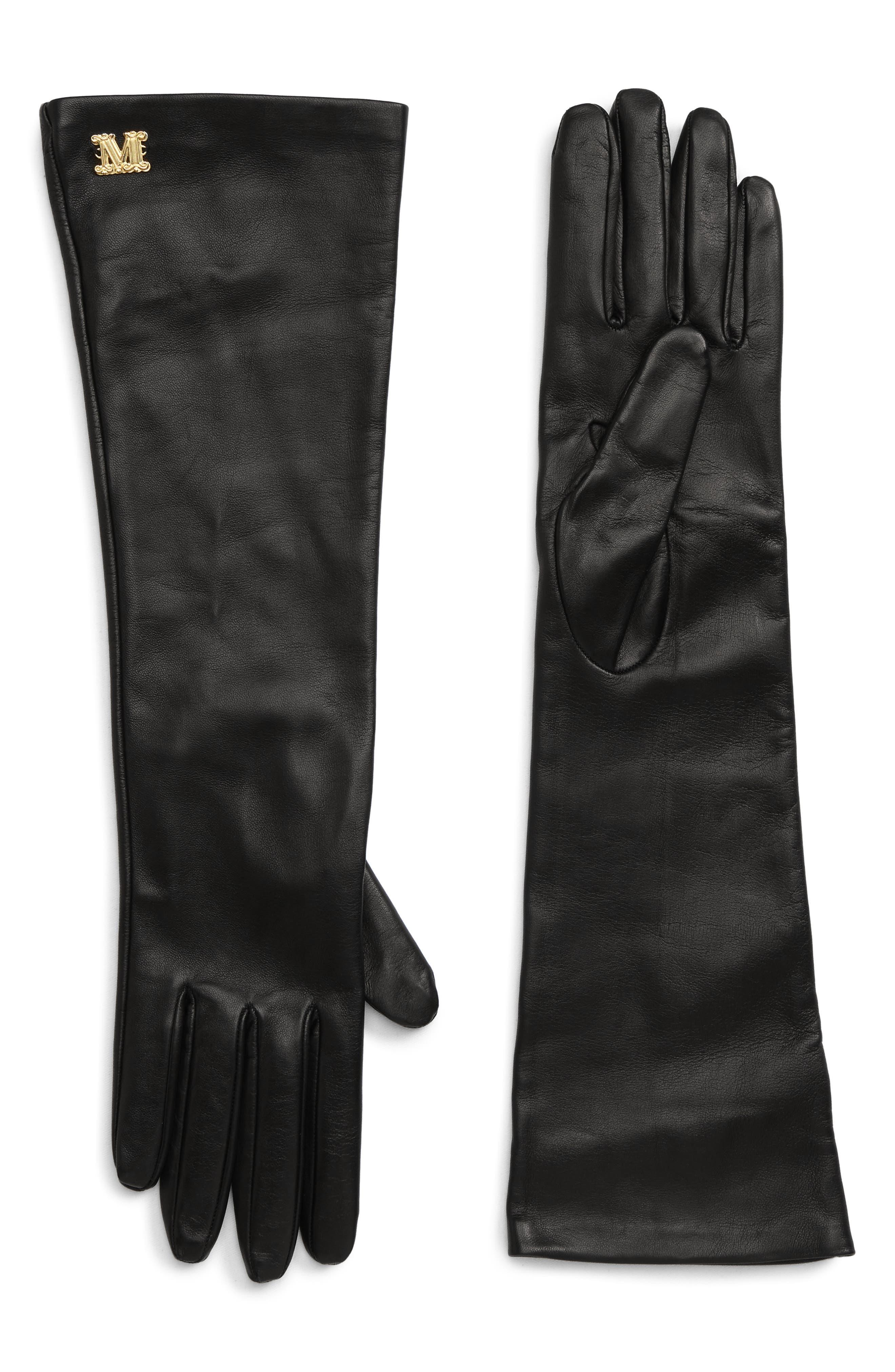 Max Mara Appia Long Leather Gloves - Black