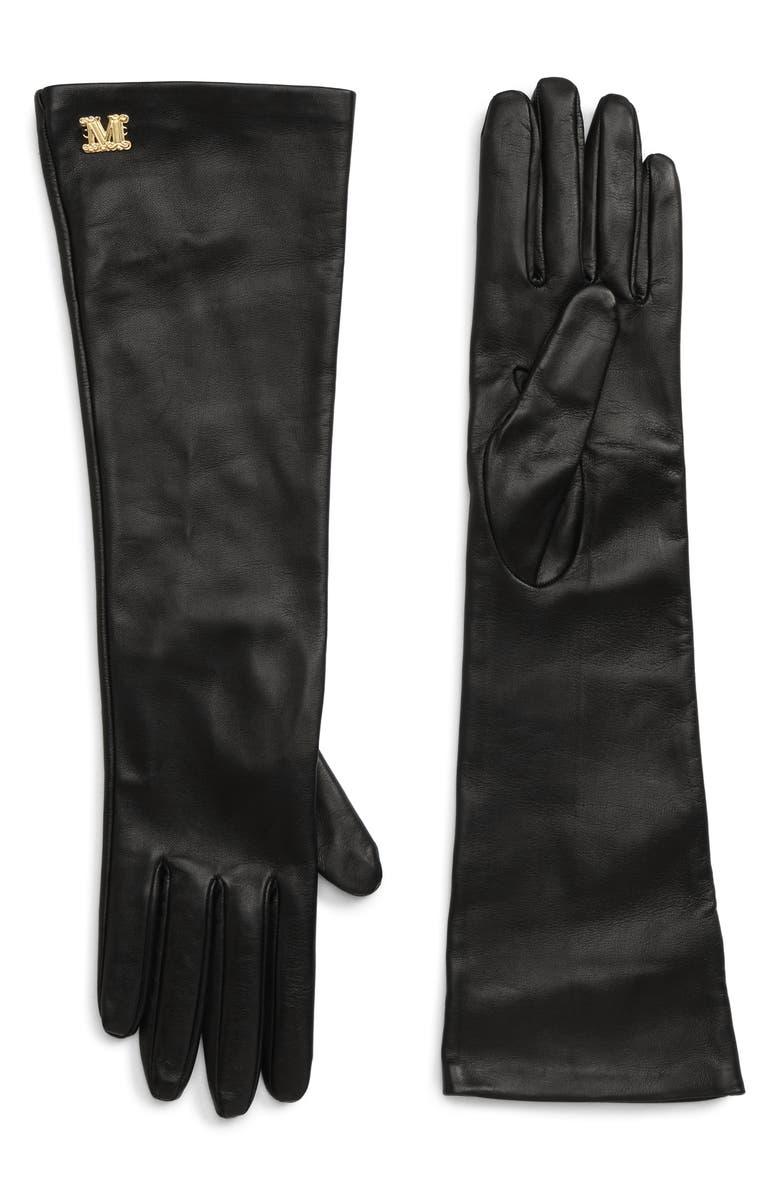 MAX MARA Appia Long Leather Gloves, Main, color, BLACK