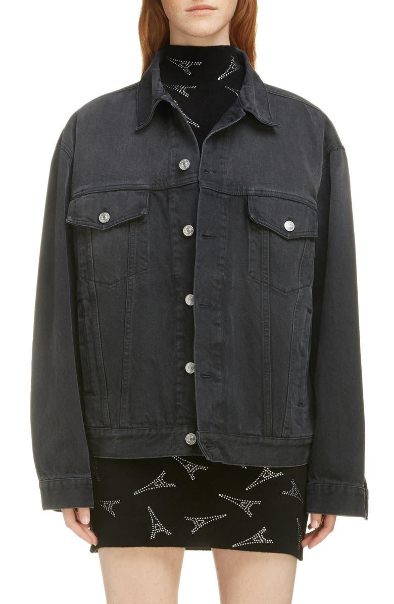 BALENCIAGA Embellished Logo Denim Jacket, Main, color, 1103-VINTAGE BLACK WASH
