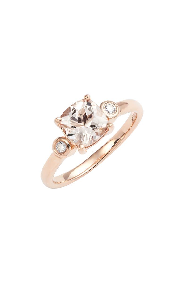 BONY LEVY Morganite & Diamond Ring, Main, color, ROSE GOLD/ DIAMOND