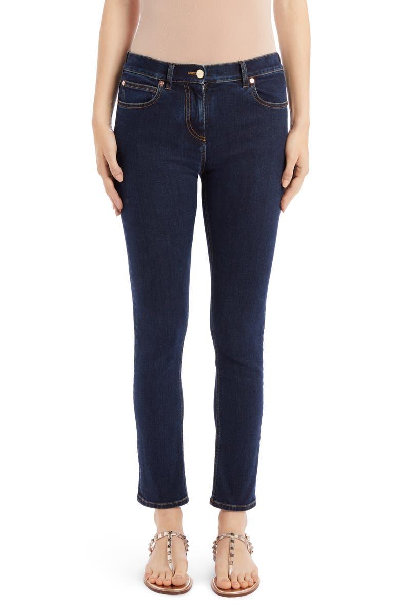 VALENTINO VLOGO Pocket Skinny Jeans, Main, color, DARK DNM