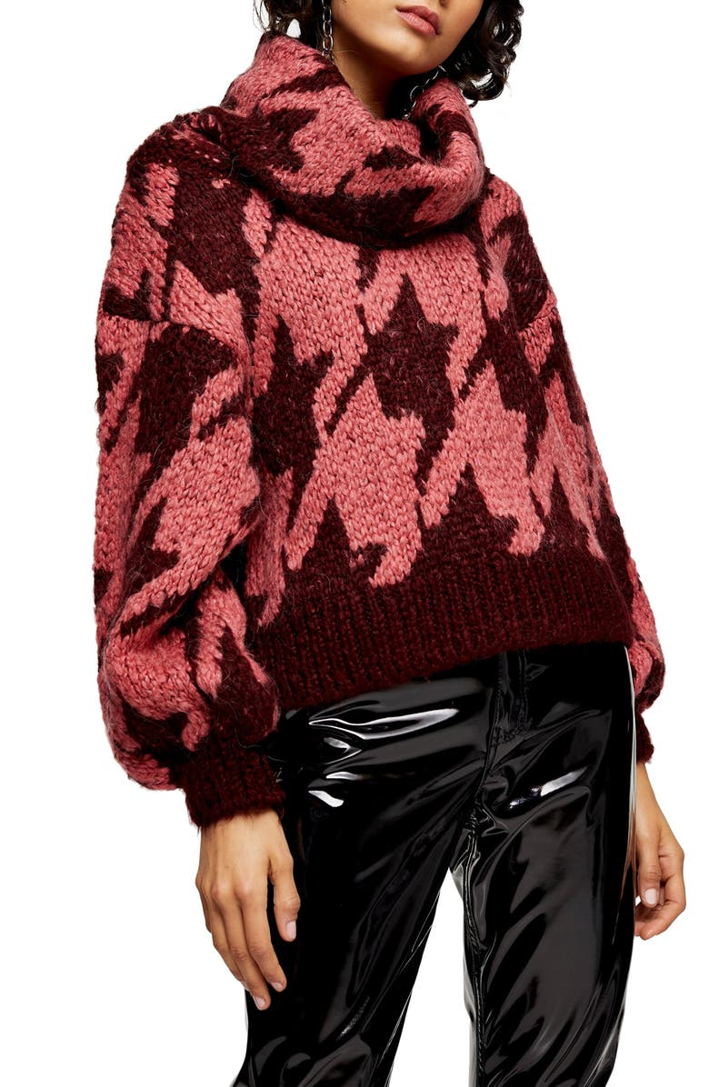 TOPSHOP Houndstooth Sweater, Main, color, ROSE MULTI