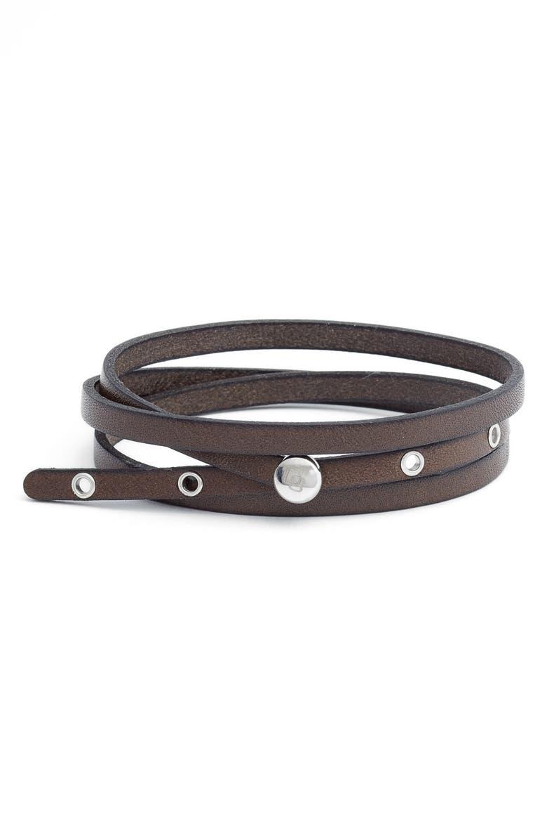 DEGS & SAL Leather Wrap Bracelet, Main, color, BROWN