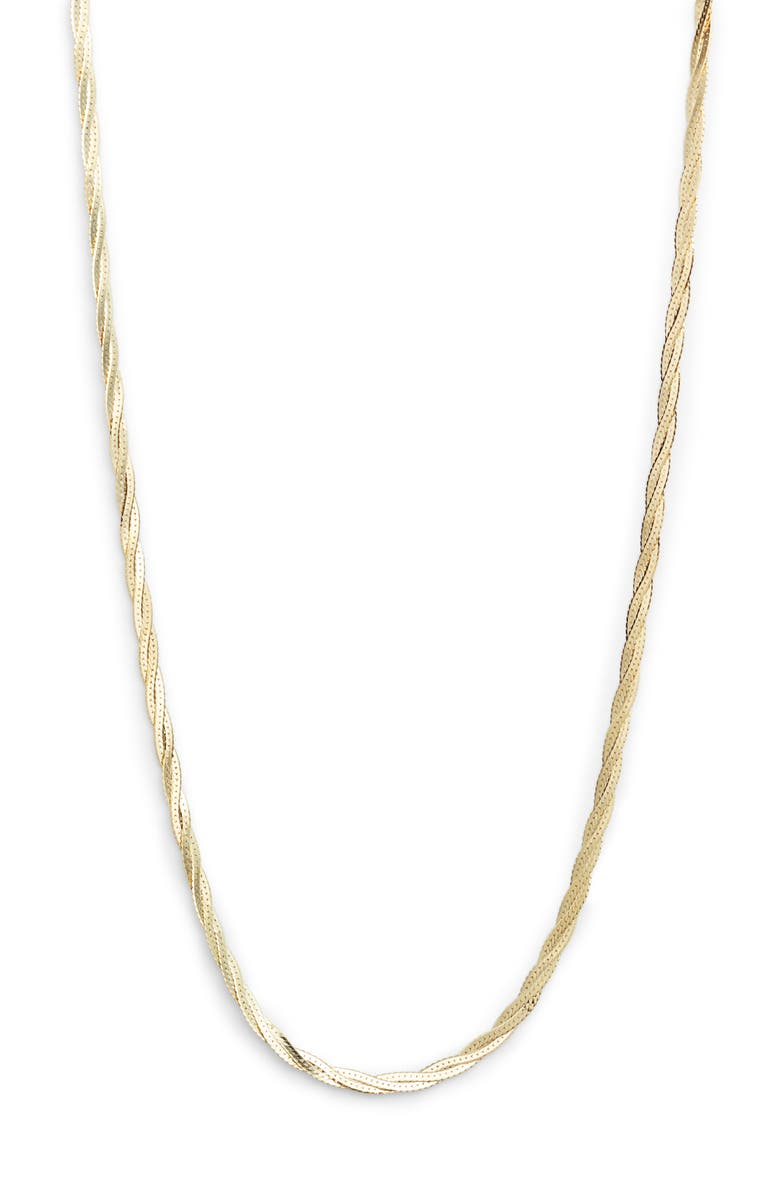 LOREN STEWART Braided Demi Herringbone Chain Necklace, Main, color, YELLOW GOLD