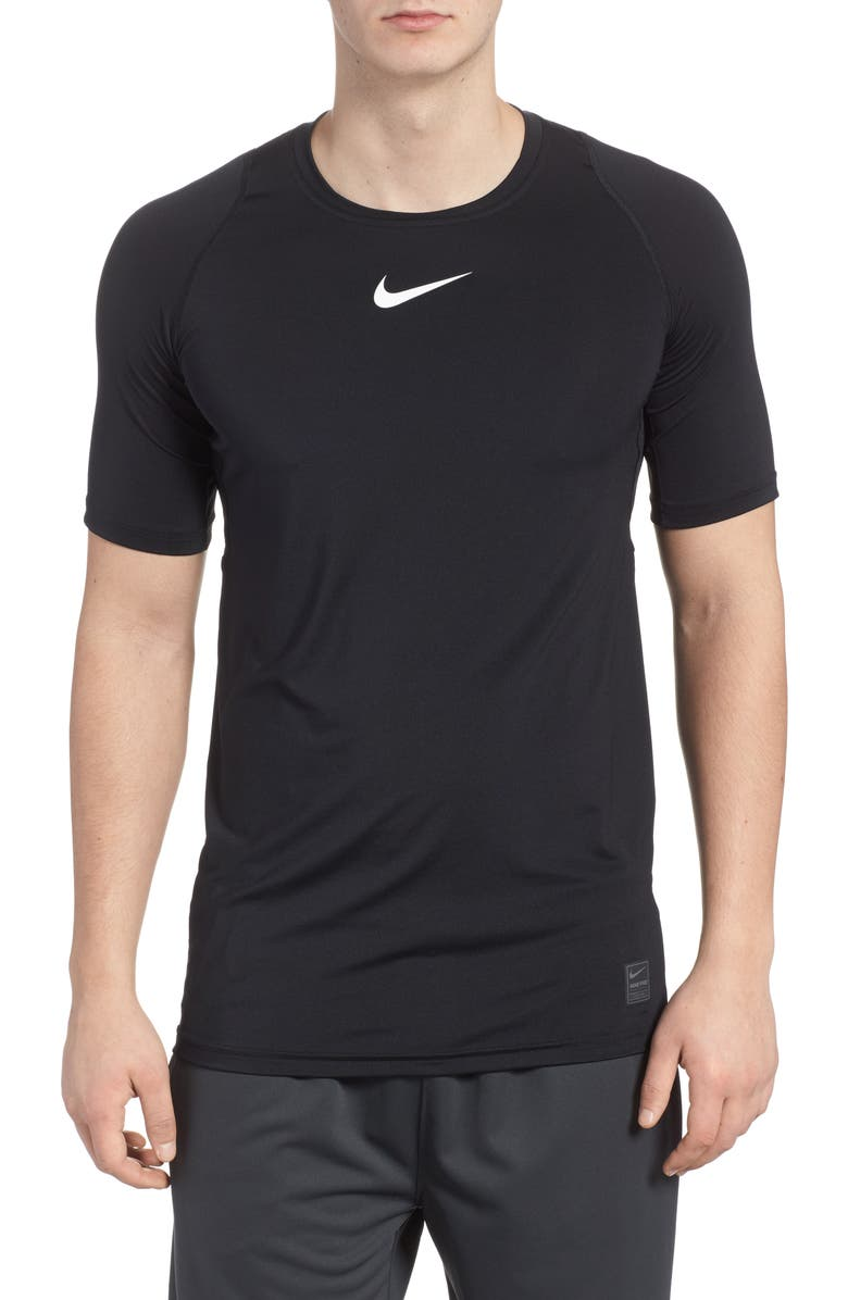 NIKE Pro Fitted T-Shirt, Main, color, BLACK/WHITE/WHITE