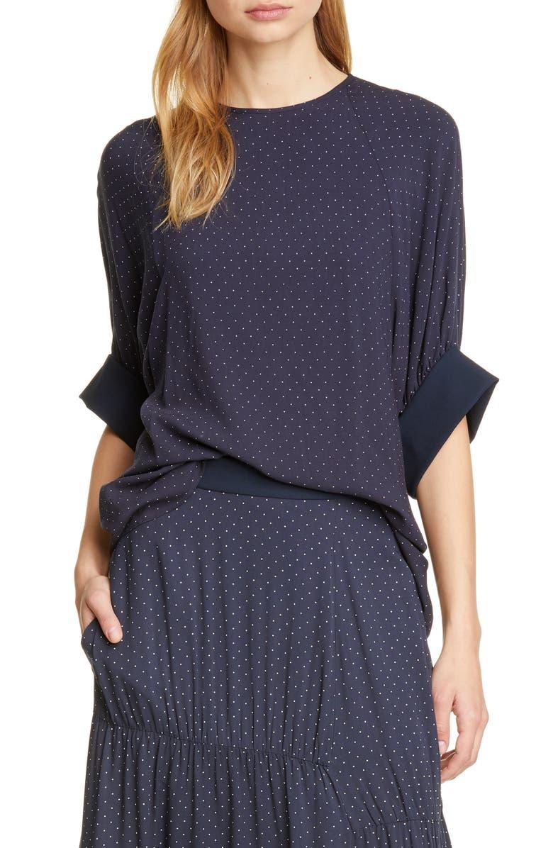 TIBI Pin Dot Shirred Sleeve Blouse, Main, color, NAVY MULTI