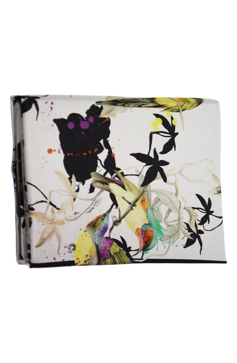 ROBERTO CAVALLI Birds Ramage 300 Thread Count Flat Sheet, Main, color, MULTICOLOR