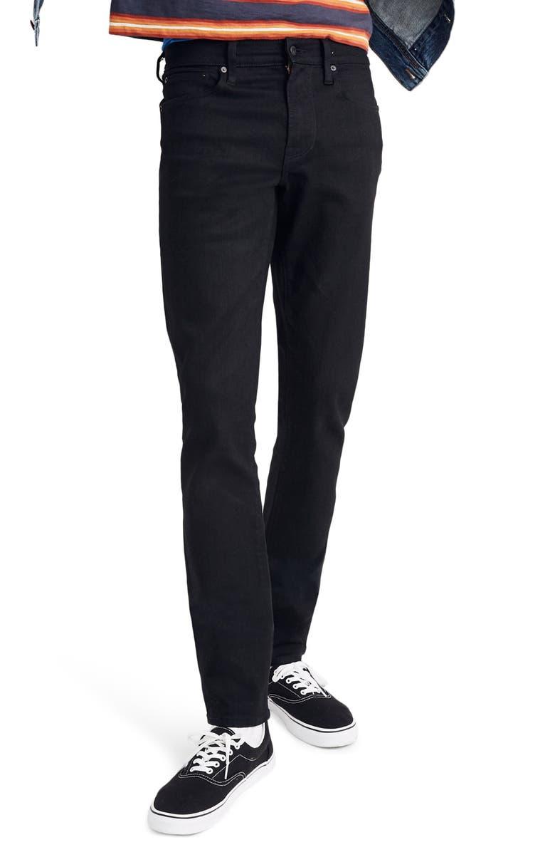MADEWELL Slim Authentic Flex Jeans, Main, color, BLACK