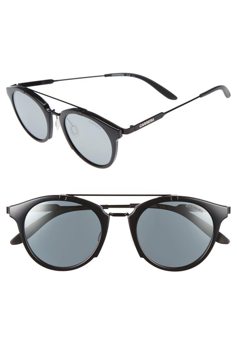 CARRERA EYEWEAR Retro 49mm Sunglasses, Main, color, 001