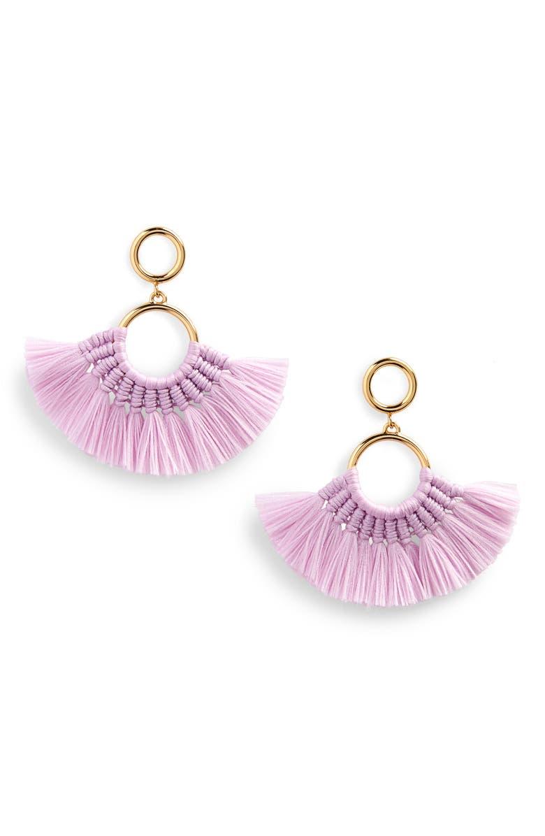 J.CREW Fan Tassel Earrings, Main, color, VIVID LILAC