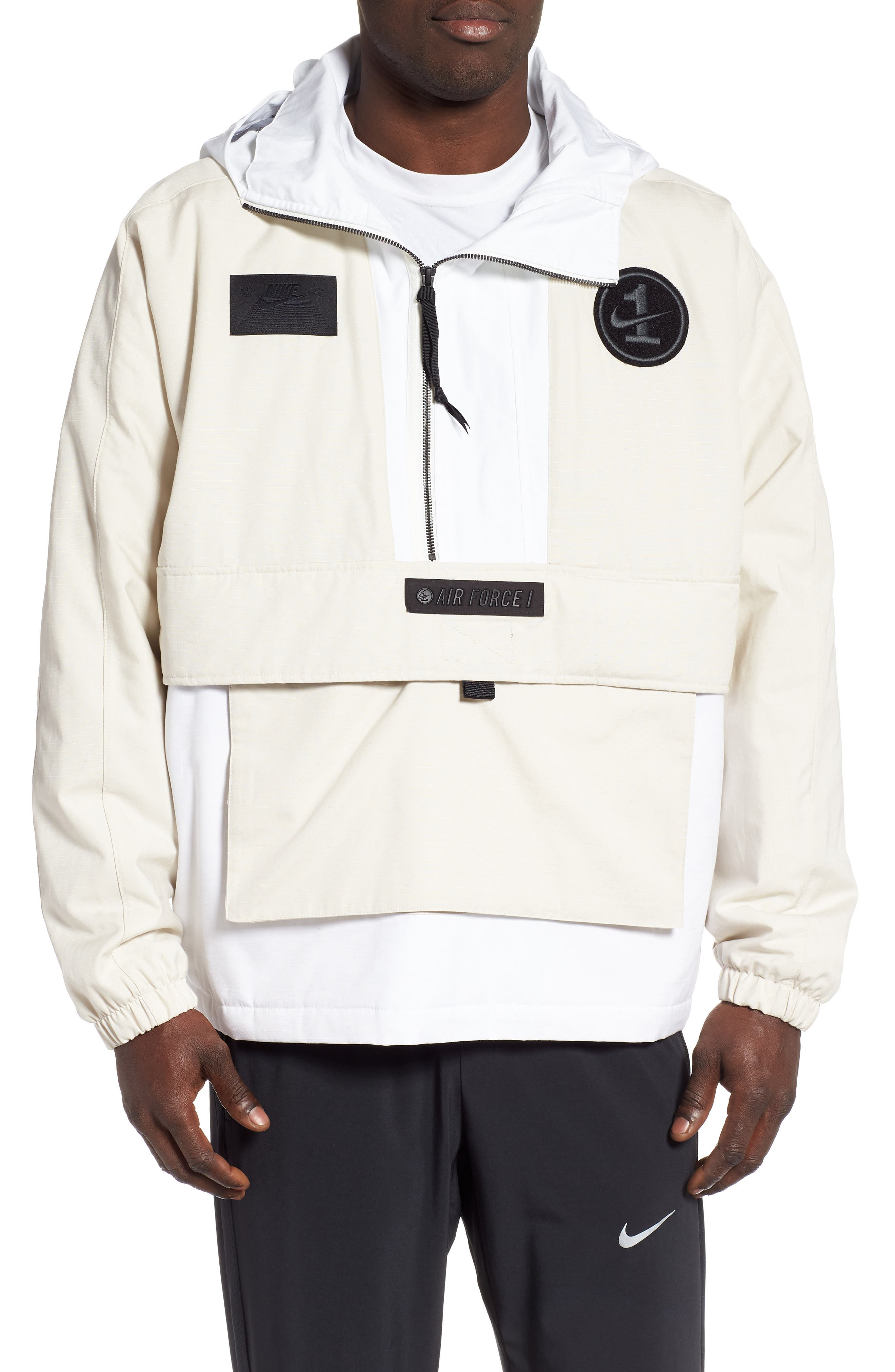 Sportswear AF1 Hooded Jacket, Main, color, LT OREWOOD BRN/ BLACK