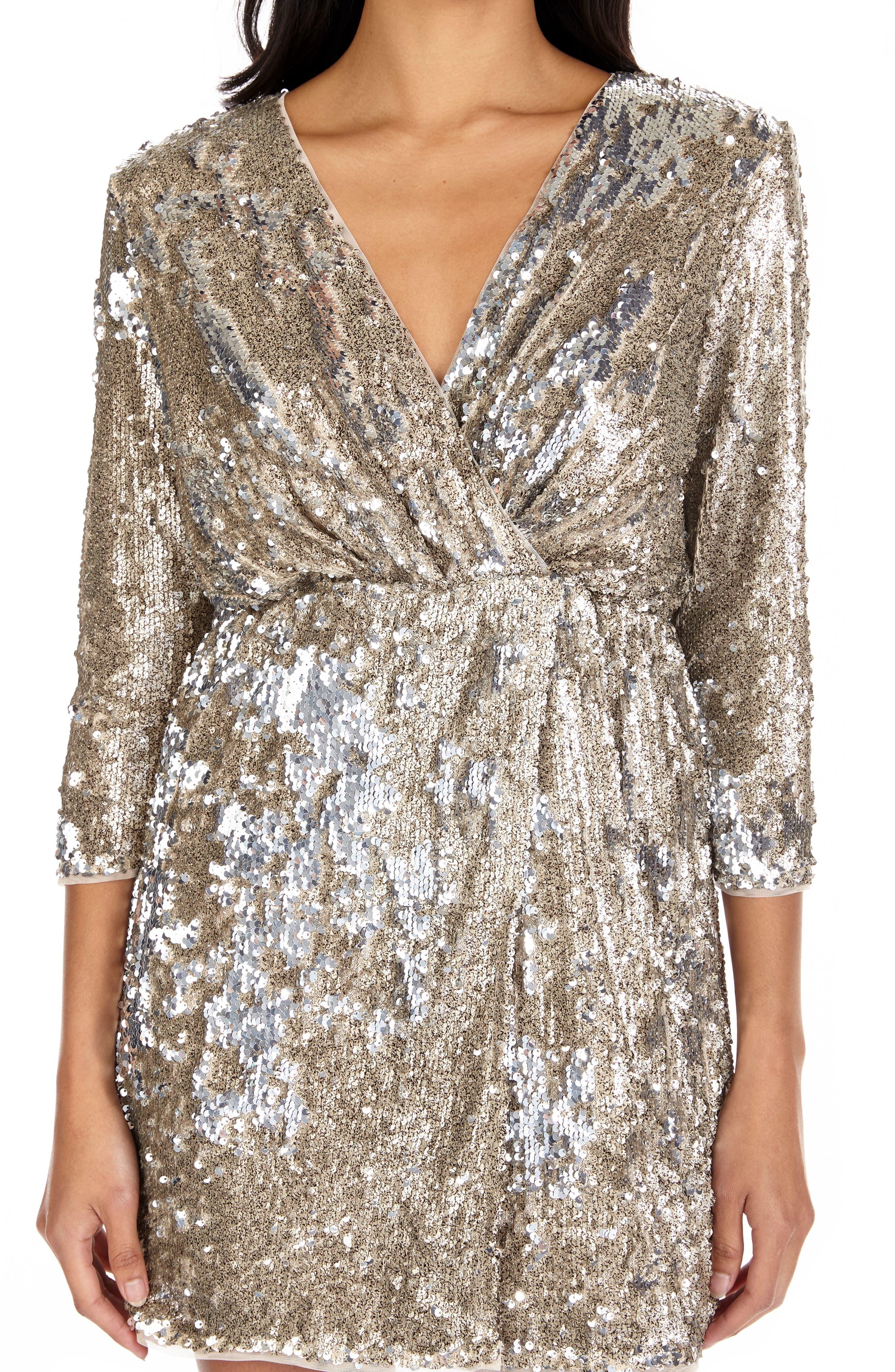 ,                             Venezia Sequin Surplice Dress,                             Alternate thumbnail 3, color,                             GOLD/ SILVER