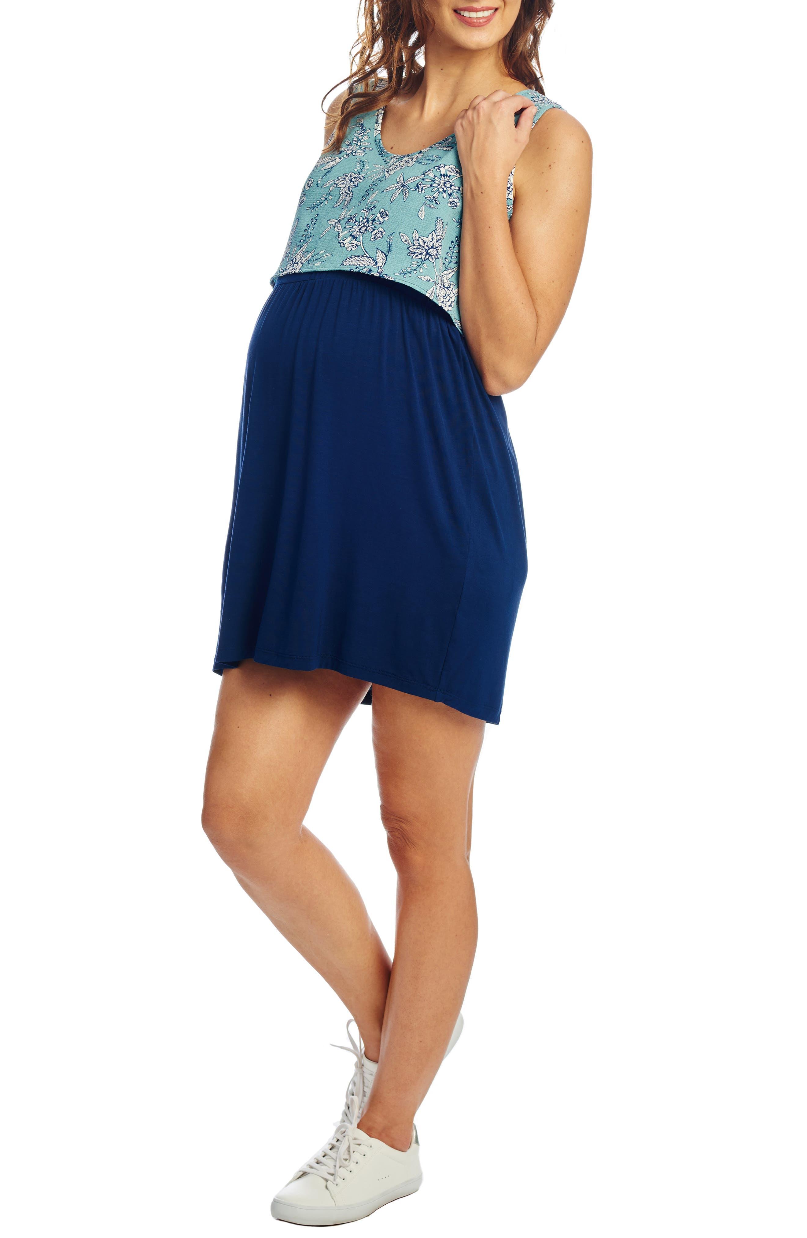 Everly Grey Mahina Maternity/nursing Tank Dress, Blue