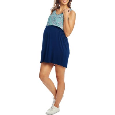 Everly Grey Mahina Maternity/nursing Tank Dress, Blue