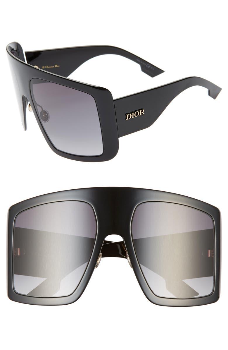 DIOR Solight1S 60mm Shield Sunglasses, Main, color, 001