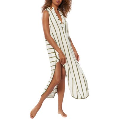 Red Carter Avi Stripe Sleeveless Cover-Up Tunic Dress, Green