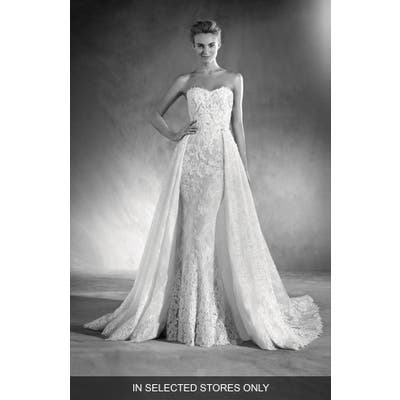 Atelier Pronovias Edith Strapless Lace Gown, Size IN STORE ONLY - Ivory