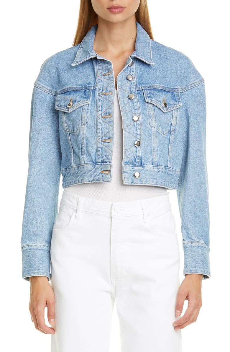 ECKHAUS LATTA Crop Denim Jacket, Main, color, TRUE BLUE