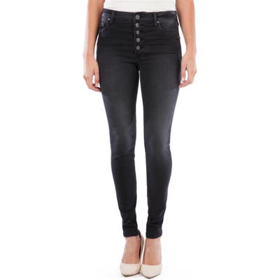 Kut From The Kloth Mia High Waist Button Fly Ankle Skinny Jeans, Black