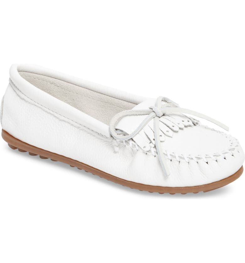 MINNETONKA Kilty Moccasin, Main, color, WHITE LEATHER