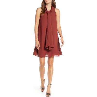 Forest Lily Chiffon Trapeze Dress, Brown
