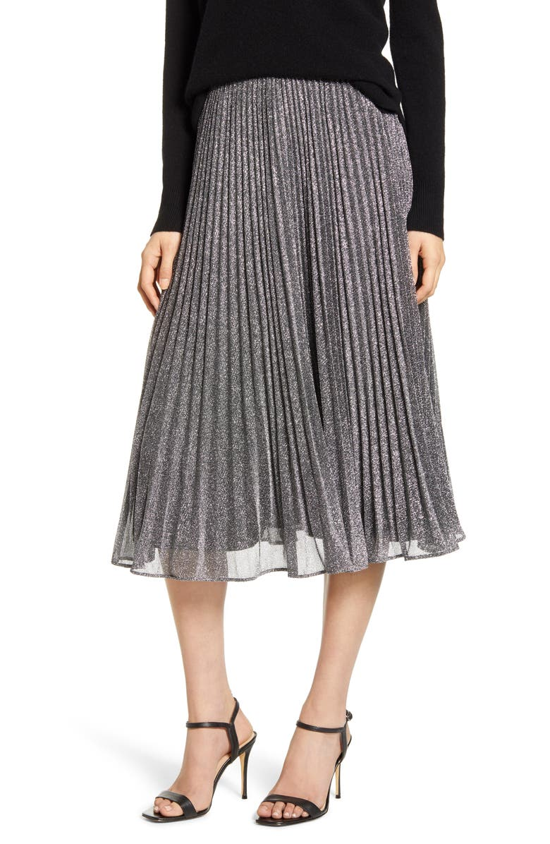 CHELSEA28 Pleated Midi Skirt, Main, color, GREY- SILVER COMBO
