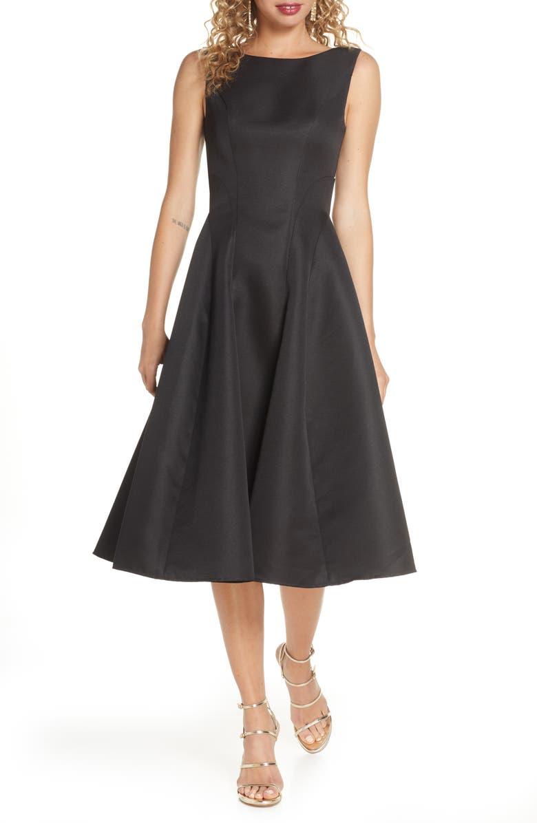 CHI CHI LONDON Ellie Fit & Flare Cocktail Dress, Main, color, BLACK