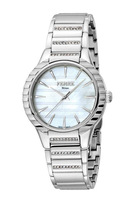 Image of Ferre Milano Women's Crystal Accented Bracelet Watch, 32mm