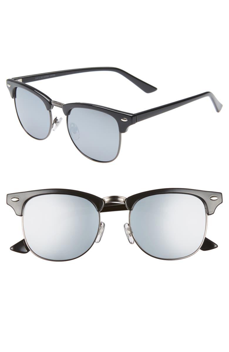 1901 Carson 50mm Polarized Sunglasses, Main, color, BLACK/ SILVER